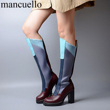 Women Stretch Cloth and Cow Leather Patched Mixed color Knee High Boots Chunky High Heels Slip on Round toe Long Botas Shoes