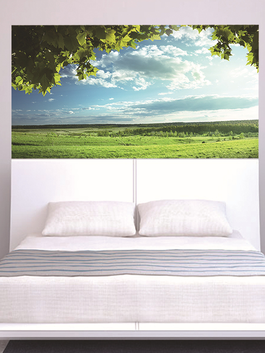 Image 2 - Green Trees Blue Sky Bed Headboard Sticker Wall Stickers Home Decoration DIY Household Living Room Bed Room Decoration New-in Wall Stickers from Home & Garden