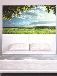 Image 2 - Yeşil ağaçlar mavi gökyüzü yatak başlığı etiket duvar çıkartmaları ev dekorasyon DIY ev oturma odası yatak odası dekorasyon yeni