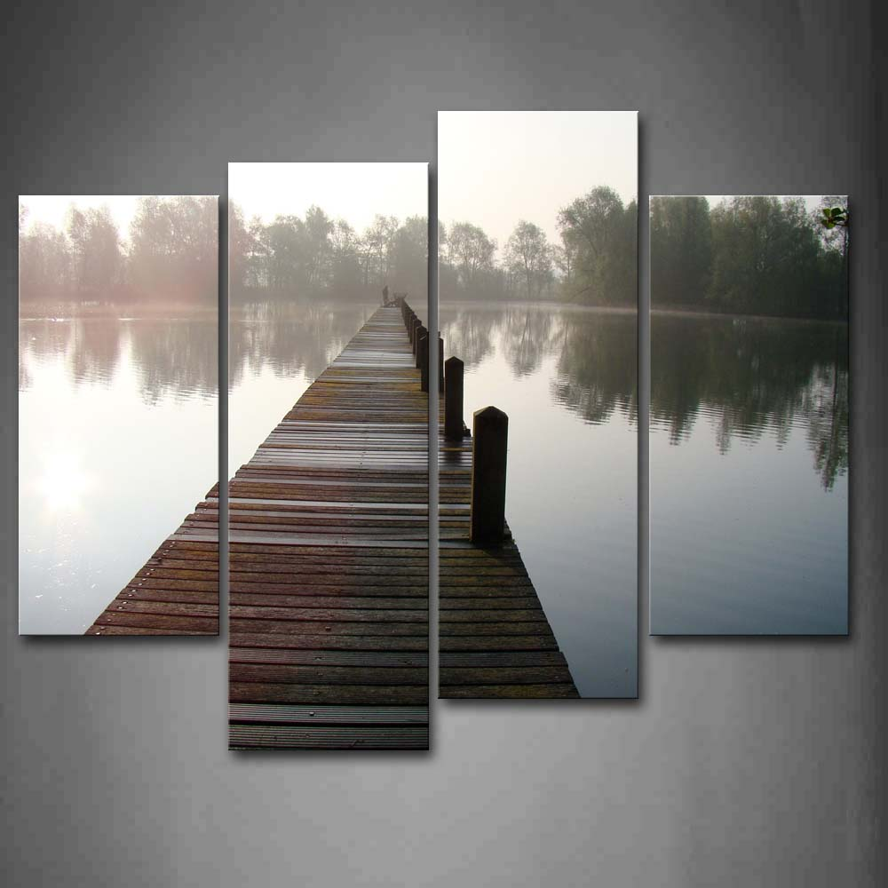 4 Panels Unframed Wall Art Pictures Pier Trees Lake Canvas Print Modern City Posters No Frame For Home Living Room Decor in Painting Calligraphy from Home Garden