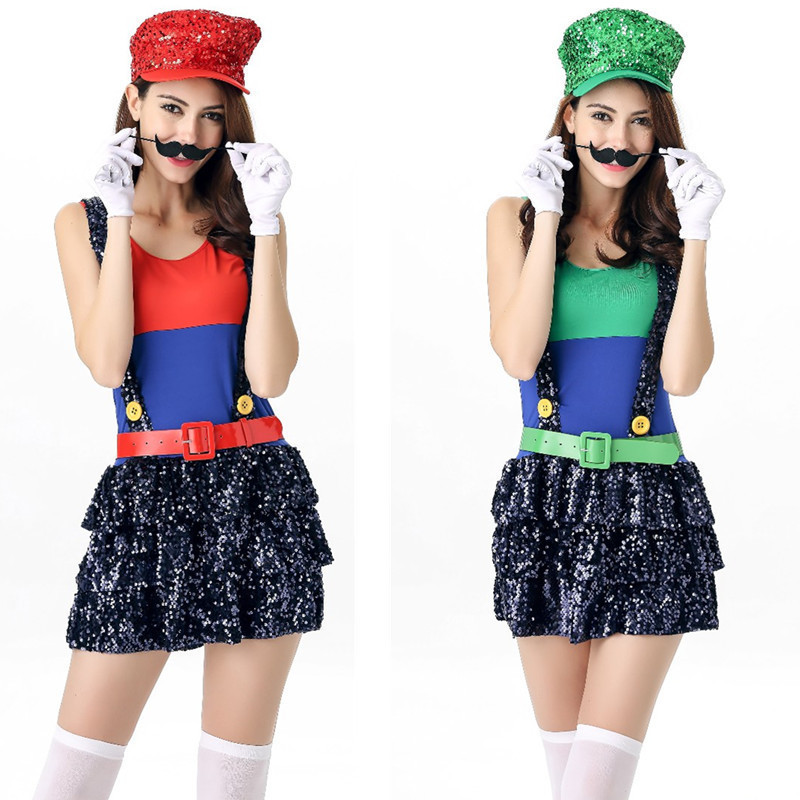 Women's Costume Super Mario Lady's Female Cosplay Skirt Moustache Hat Suit Adults Anime Cosplay Halloween Sexy Clothes Nightclub
