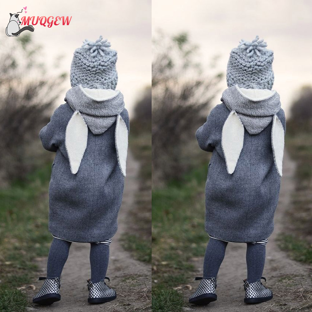 dedd64e13 Cute Rabbit Ear Hooded Baby Coat Infant Autumn Winter Jacket Girl ...