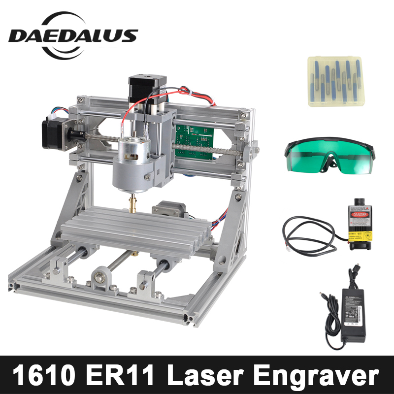 CNC 1610 500MW Laser Engraver Mini Mill Machine,Laser Engraving,Pcb PVC Milling Machine,Wood Router,CNC 1610,Best Advanced Toys mini cnc router with 500mw laser head pcb milling machine work area 240 170 65mm