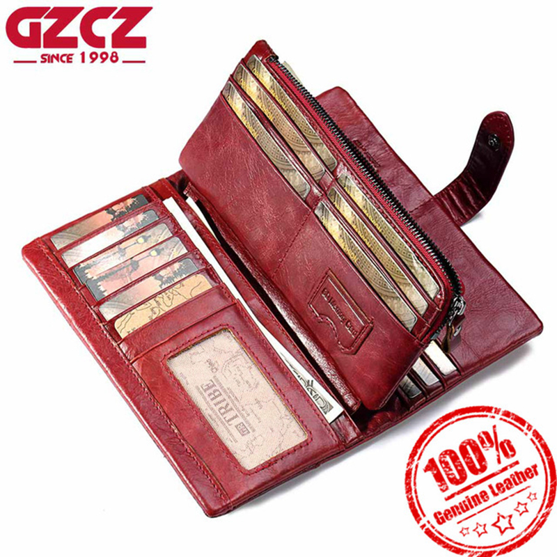 GZCZ Frauen Brieftasche Aus Echtem Leder Weibliche Lange Kupplung Dame Walet Portomonee Rfid Luxus Marke Geld Tasche Magie Zipper Geldbörse