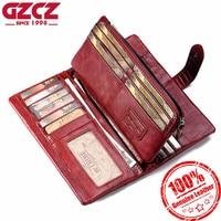 GZCZ Women Wallet Genuine Leather Female Long Clutch Lady Walet Portomonee Rfid Luxury Brand Money Bag Magic Zipper Coin Purse