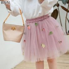 2019 Summer New Fruit Embroidery Short Skirt Girls Children's Soft Net Yarn Tutu Skirts Mesh Party Ball Gown Pettiskirt 3-8Y