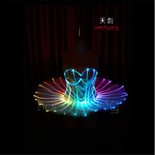 TC-75 Full color LED colorful light women costumes party skirt wears led ballroom dance ballet wedding bra dresses programmable
