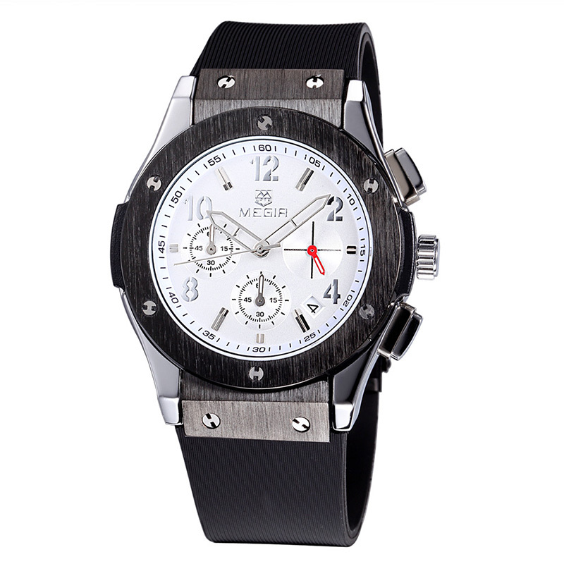 2016 Sports Watches Men Waterproof Chronograph Auto Date Casual Silicone Military Watch Luxury MEGIR 2518 Free