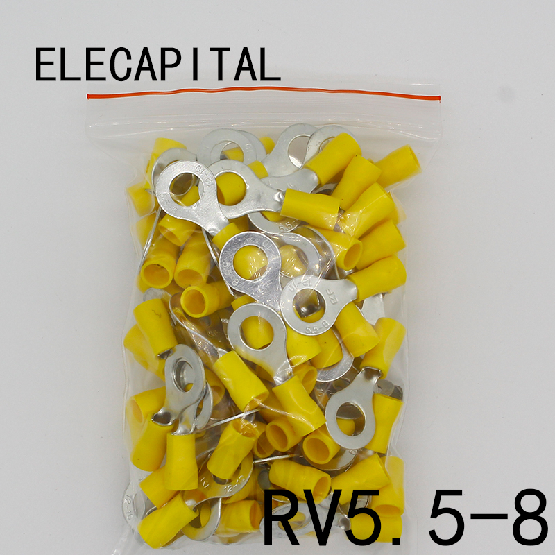 цена на RV5.5-8 Yellow Ring insulated terminal suit 4-6mm2 Cable Wire Connector cable Crimp Terminal 50PCS/Pack RV5-8 RV