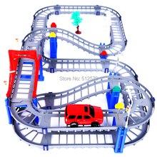 Kingtoy bricolage Raidway jouets Train électrique réglé jouets éducatifs voiture de chemin de fer