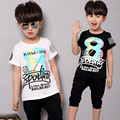 2016 Baby Boys Summer Sport Clothing Set Kids T Shirts+Shorts Pants 2 Pcs Clothes Tracksuit Sets 3 4 5 6 7 8 Years