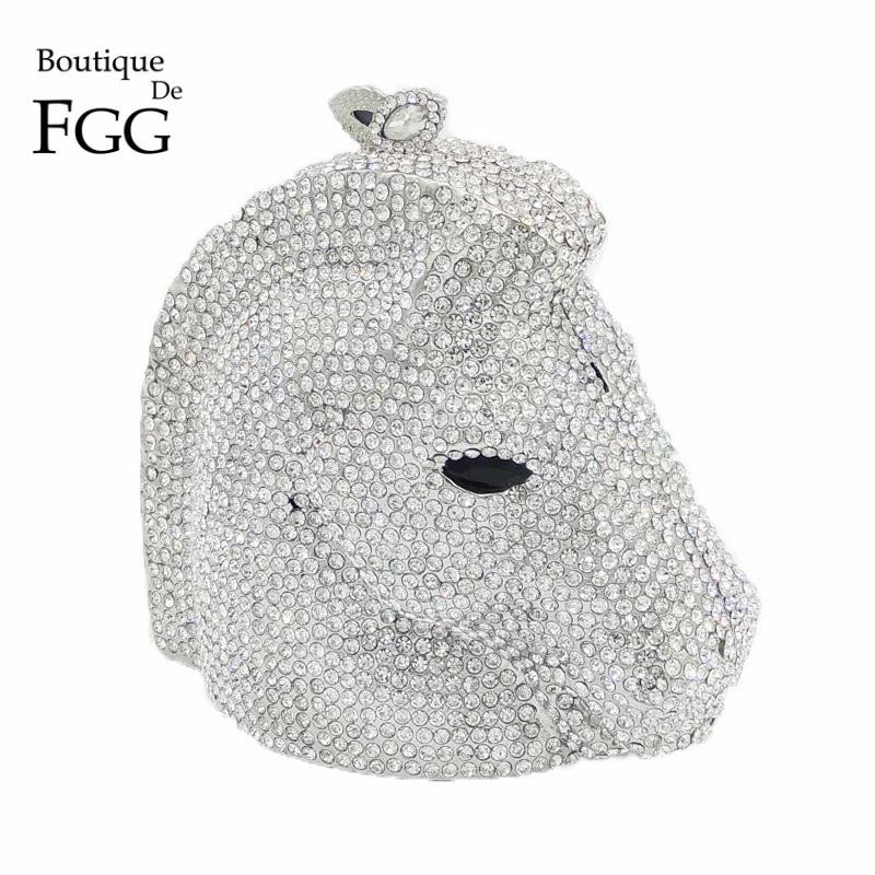 ФОТО Luxury Clear Crystal Diamond Silver Horse Women Mini Animal Evening Bag Wedding Party Handbags Purse Clutch Chains Shoulder Bags