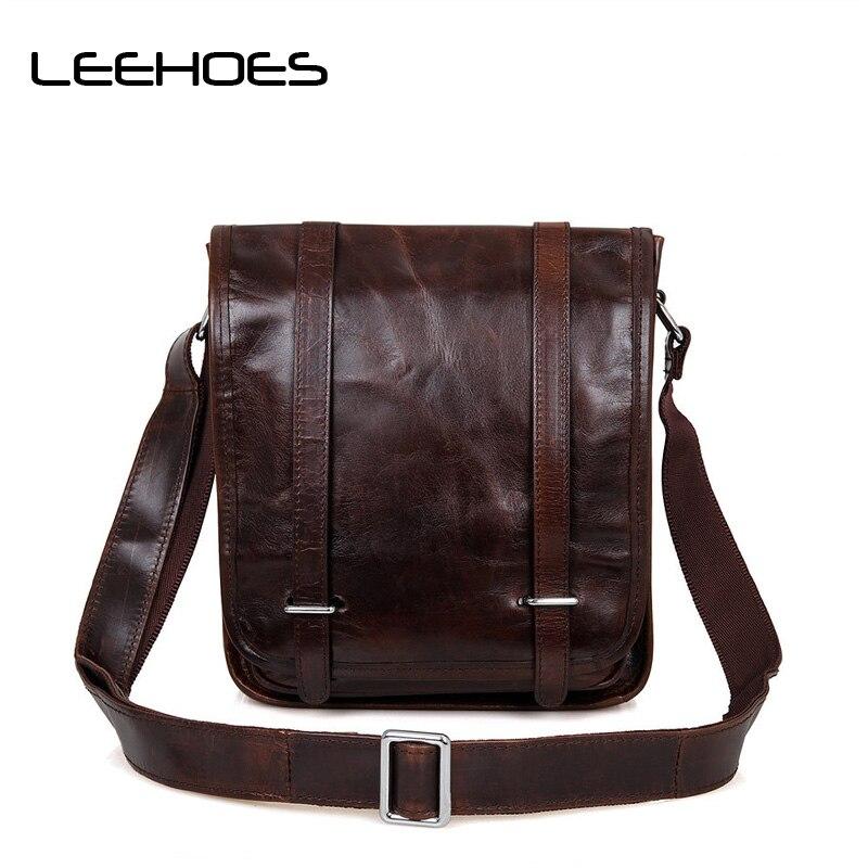 2017 Retro leather small Cowskin Crossbody Bag 100% Genuine Leather shoulder bag Tablet PC Business Handbags for Men Bag Bolsas