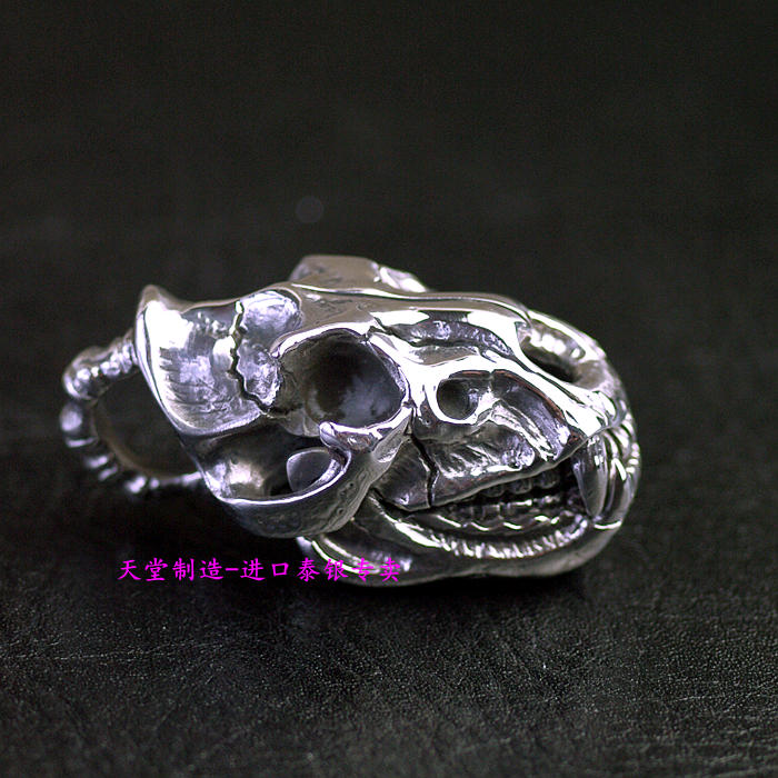 Thailand imports, 925 silver beast Skull Pendant thailand imports skull blood new skeleton silver ring
