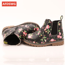 AFDSWG spring and autumn shoes girls leather kids shoes black Children's boots brown shoes kids gray girl boots, boys boots