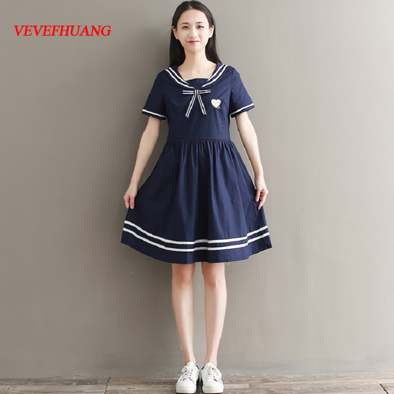 Preppy Style Summer Women Cute Dress Sailor Collar Embroidery Female Tunic Short Sleeve Navy Blue Cotton Slim Girl's Dress