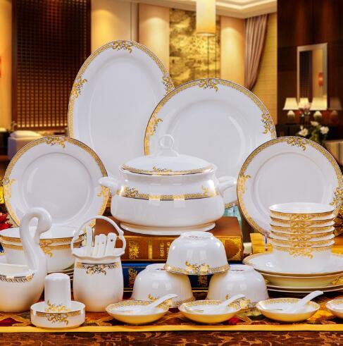 Бесплатная доставка Высокое качество керамическая посуда набор 56 шт. чаша посуда костюм набор посуды из фарфора свадебный подарок