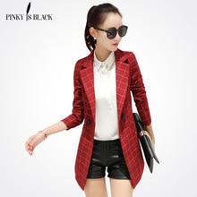 Pinky Is BlackFemale blazer 2017 spring and autumn new blazer women jacket slim medium-long plaid long-sleeve casual suit blazer