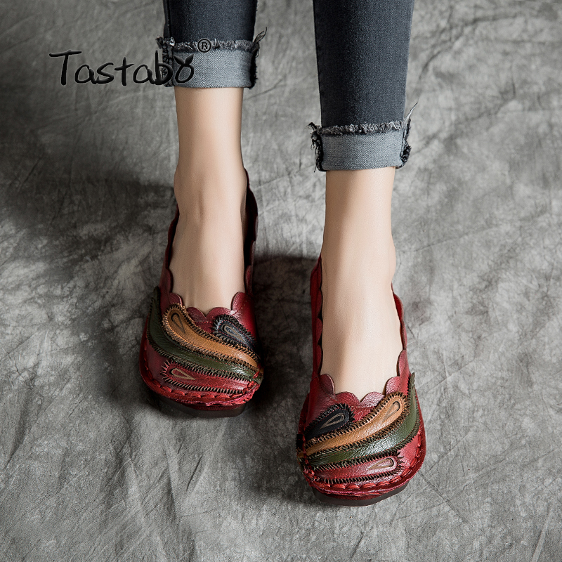 Tastabo Genuine Leather Shoes Handmade Soft Comfortable Shoes Casual women s shoes Red green flats Tail