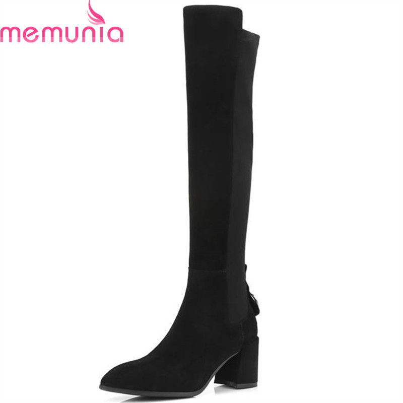 MEMUNIA 2018 new arrival cow suede leather knee high boots women zipper Stretch autumn winter boots square high heels shoes memunia 2018 new arrival knee high boots for women pointed toe suede leather boots zipper lace up autumn boots fashion shoes