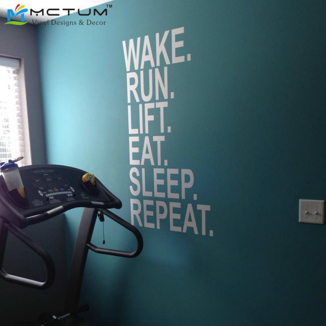 Gym Quotes Wake Run Lift Eat Sleep Repeat Wall Decor Vinyl Decal Gym Workout Motivation Wall Sticker Home Decoration Living Room