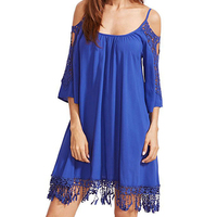 Lace Summer Women Dress Off Shoulder Loose Tunic Robe Pull Femme 2017 Half Sleeve Solid Sexy
