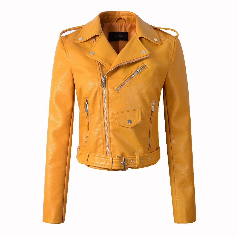 Autumn PU   Leather   Jacket Women Fashion Motorcycle Coat Women Spring Bomber Jacket Faux   Leather   Short Biker Jacket Chaqueta mujer