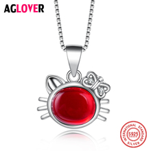 2019 New Brand Design Women Cat Necklace Red Fire Opal Necklaces & Pendants Fashion 925 Sterling Silver Animal Jewelry