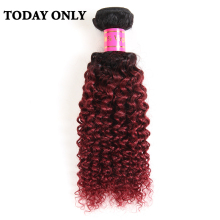 Today Only Burgundy Ombre Brazilian Hair Kinky Curly Weave Human Hair Bundles Non-remy 1b 99j Two Tone Human Hair Extensions