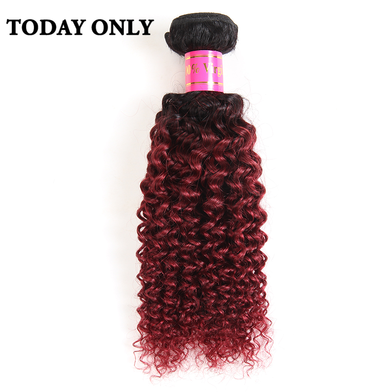 Today Only Burgundy Ombre Brazilian Hair Kinky Curly Weave Human Hair Bundles 1b 99j Two Tone Hair Weaves Non Remy Hair