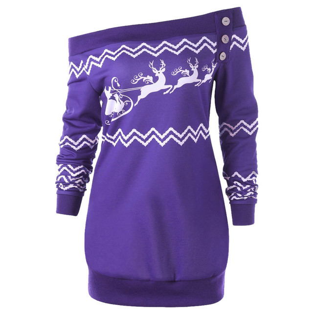5987d91d57168 Sweatshirt Female Women Clothes Plus Size 5xl Christmas Off Shoulder Deer  Printed Long Sleeve Autumn Pullover Tops Sweatshirts
