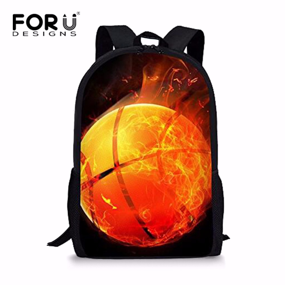 FORUDESIGNS Men Backpacks Personalized Basketballs School Bags Rucksack For Teenagers Male Mochila Daily Bagpacks Back Pack