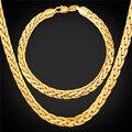 U7 homens homens colar de jóias de alta qualidade banhado a ouro pulseiras elo da cadeia colar pulseira conjuntos de jóias por atacado s640