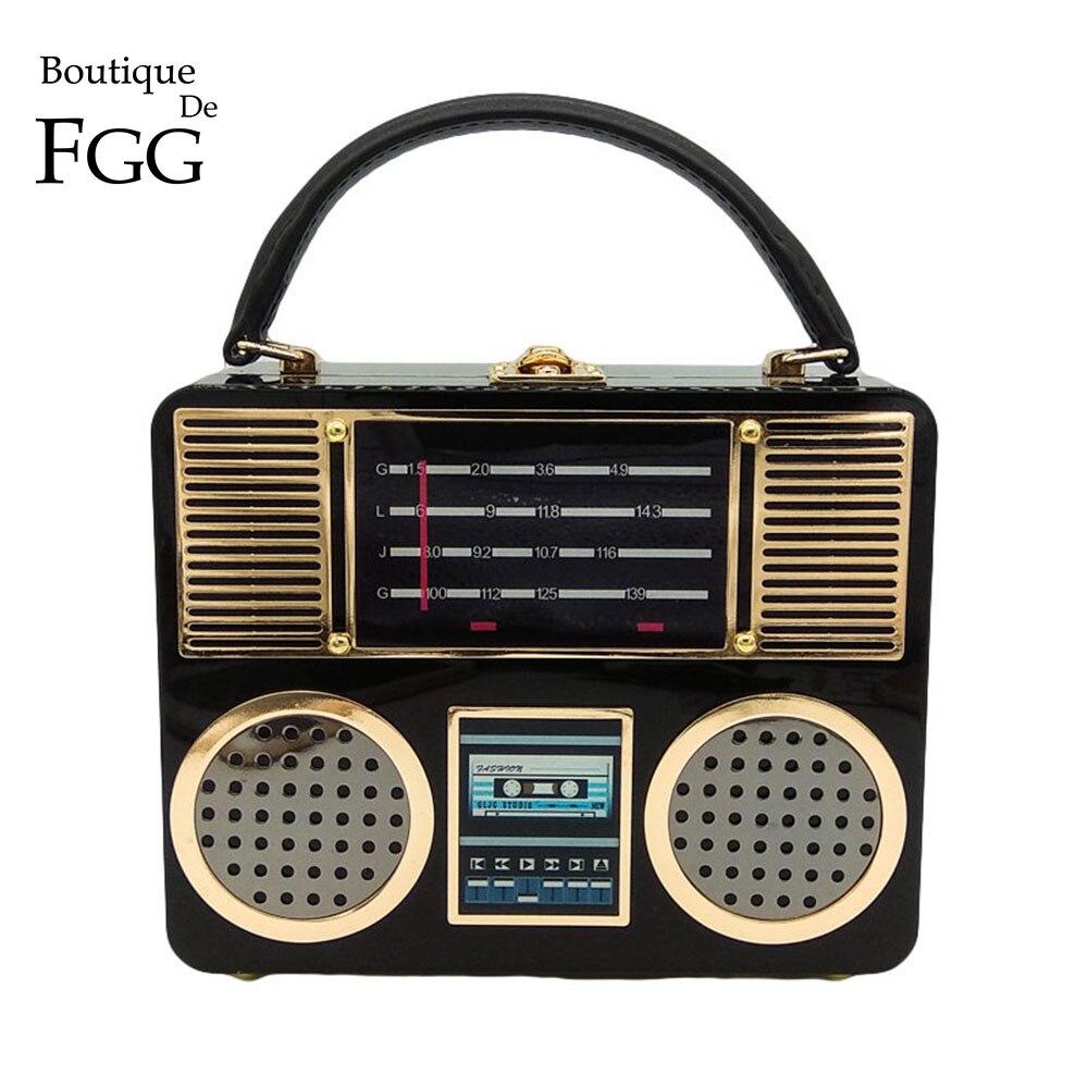 Boutique De FGG Vintage Retro Radio Acrylic Box Clutch Evening Handbags Women Totes Handbags Ladies Crossbody