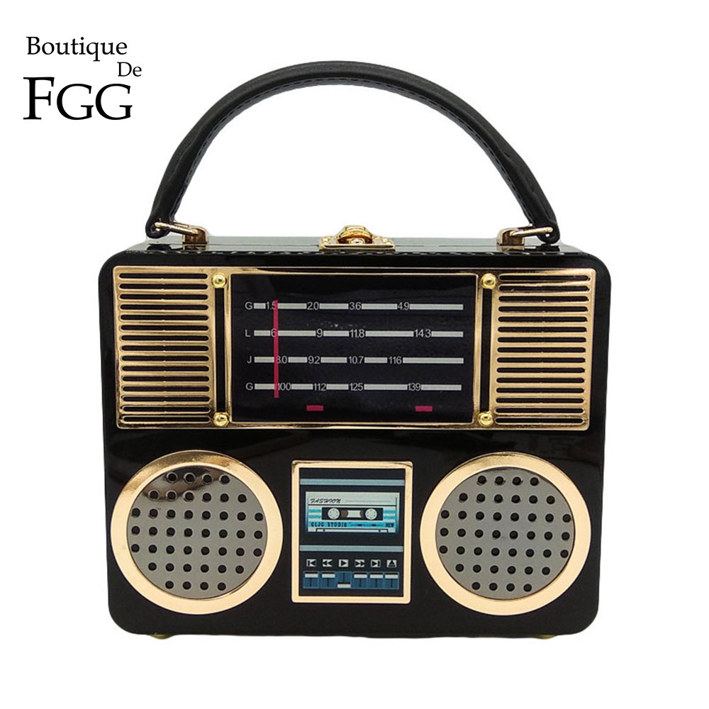 Boutique de Fgg Rádio do Vintage Bolsa de Ombro Retro Acrílico Caixa Embreagem Noite Bolsas Femininas Totes Senhoras Crossbody