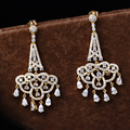 Yellow gold color dangles earrings Dubai jewellery with Clear Cubic Zirconia Women Bridal Wedding Jewelry