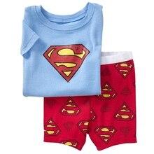 Купить с кэшбэком New Arrival Superman Boy's Summer Pajamas Suits Blue T-Shirts Red Pants Children Pyjama Nightdress Girl