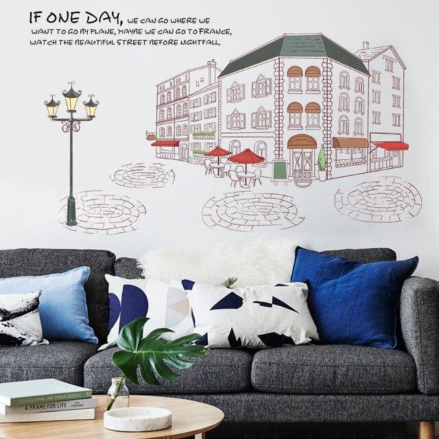 Autocollants muraux paysage City Street | Décoration de maison, Style européen, papier peint, affiche murale amovible, design romantique, Plan