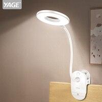 YAGE 18650 LED Touch Aan/uit Schakelaar 3 Modes Clip Bureaulamp 7000K Oogbescherming Lezen Dimmer Oplaadbare USB Led Tafellampen