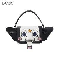 LANSO Kişilik Dikiş Küçük Fil Baskı Omuz Çantası Mini Çanta Payetli Deri Kadın Crossbody Messenger Çanta