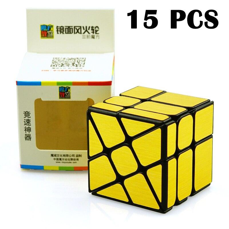 15 PCS MoYu Miroir Étrange-forme cube Magique Rotation Lisse Or Coloré autocollant Puzzle cube Classique Jouets Pour Enfants neo Cube