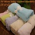 Cobertor Do Bebê de Crochê de Algodão Super Macio 70*90 cm Cobertores de Verão Newborn Prop mantas e cobertores Berço Dormir Ocasional buraco Envoltório