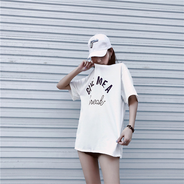 2018 New Arrival Letter GIVE MEA Printed Cotton Casual T-Shirt Women Street Fashion Style Korea Ulzzang Loose O-Neck Tee Tops 4