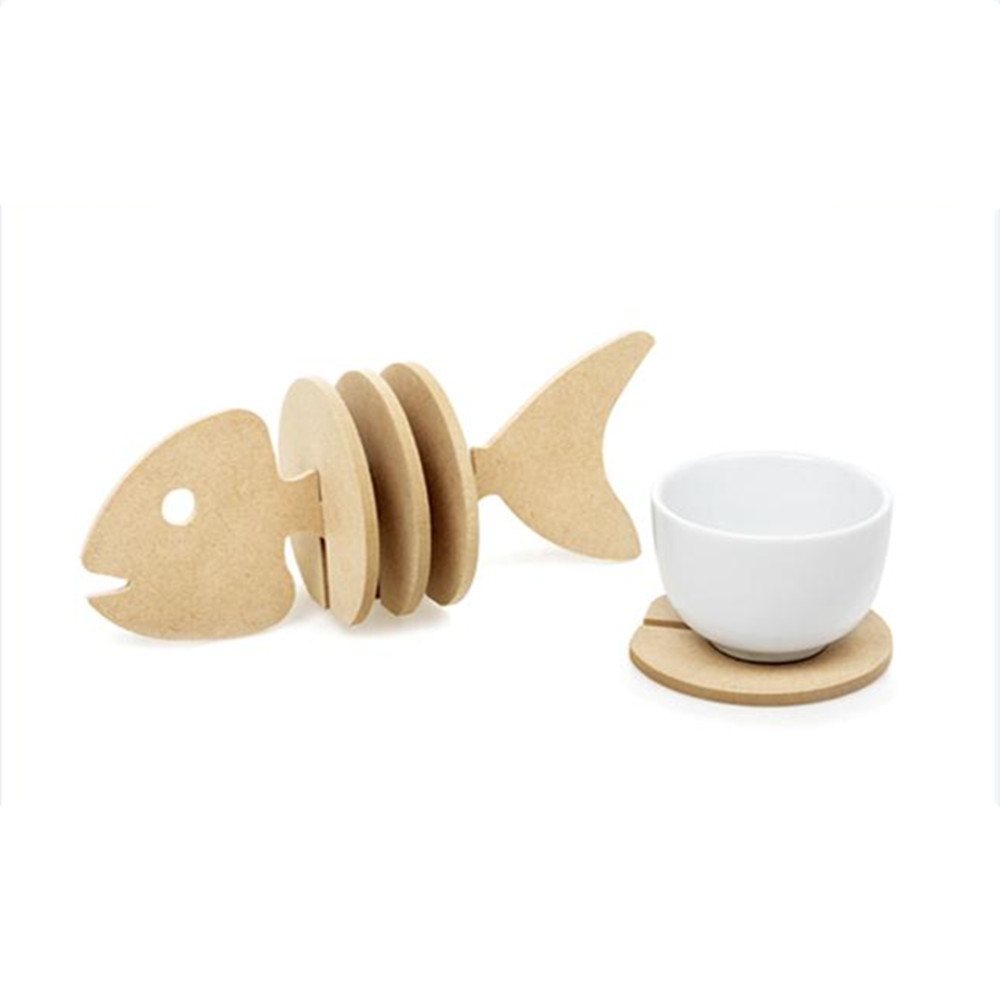 Non-slip Wooden coasters creative Place mat/office supplies coffee cup Mat Home Decor DIY handmade Fish simple animal shapes