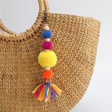 RE Boho Jewelry Plush Balls Keychain with Fringe Pompons Tassel Wood Beads Pendant Charm Key Chains Bohemian DIY Accessories K34