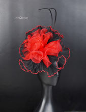 2019 Red black wave crin organza fascinator sinamay base Kentucky Derby bridal shower mother of the bride w/orstirch spine