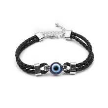 Turkish Blue Evil Eye Bracelet Women Black Handmade Braided Leather Rope Chain Bracelets for Women Jewelry
