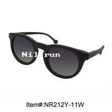 retro round black ebony wood sunglasses