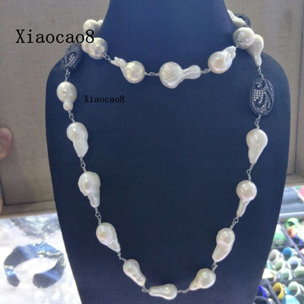 37.4inch Baroque Pearl Necklaces Women High Quality Long Necklace with Gold Black Silver Charm Womens Big Pearl Necklace Jewelry