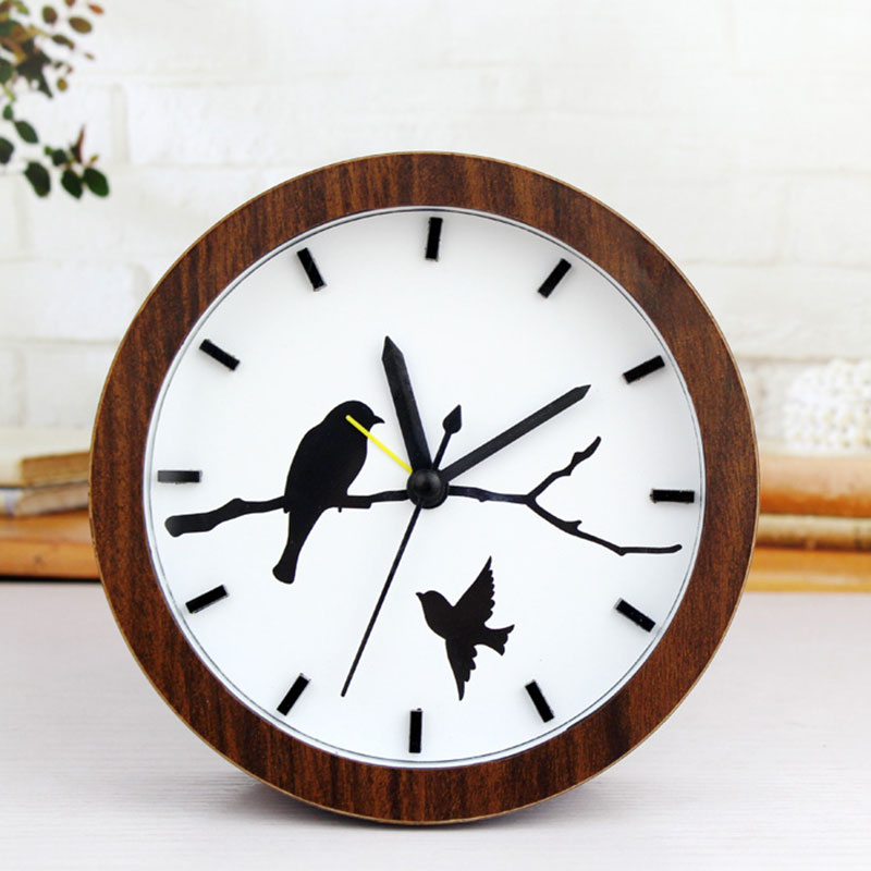 Pastoral Wooden Board Alarm Clock Mute Vintage Table Battery Clock Bird Tree Patterns Desk Home Decor Christmas Gifts